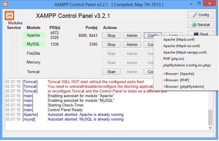 Diverso programada glpi com xampp e windows 8 clique no boto config do apache e depois em apachehttpdnf ele vai abrir o notepad do windows com o arquivo de configurao do apache para a porta stopboris Gallery