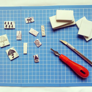 Eraser stamp cutting (handmade by heyladyspring.com)