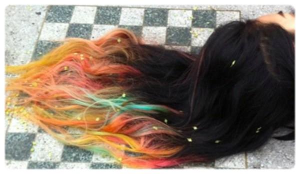 des craies pour une chevelure arc en ciel hair chalking - Coloration Cheveux Craie