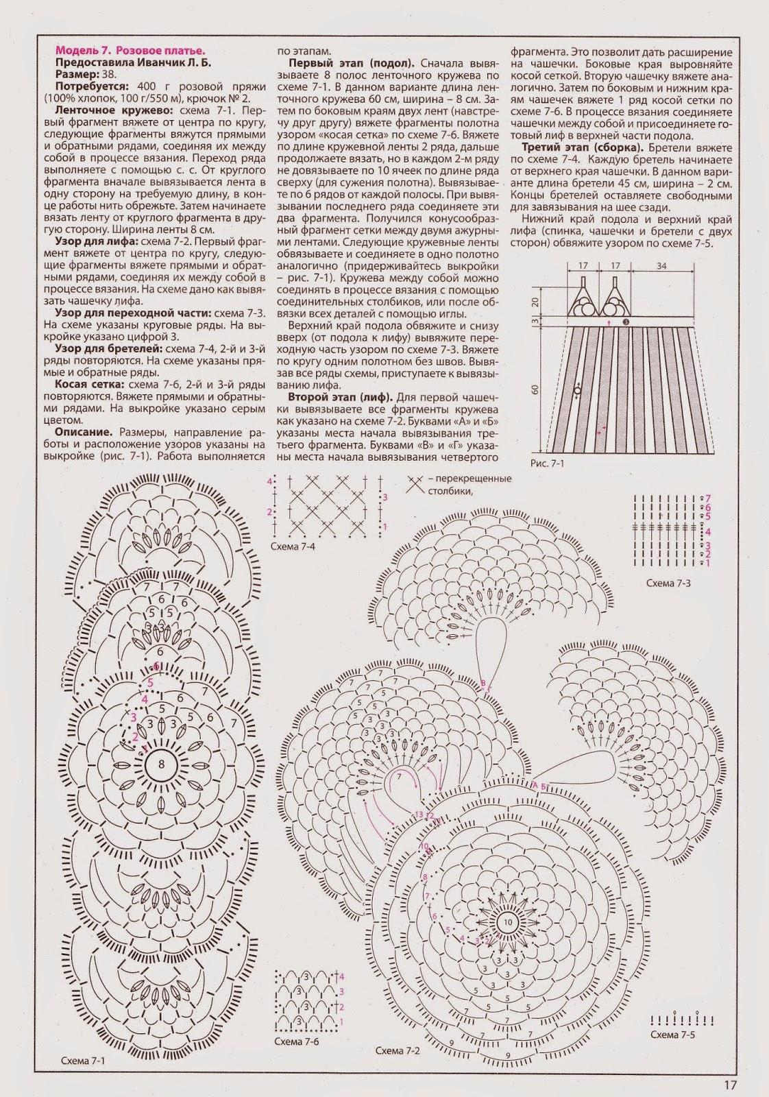 Платье вязаное из ленточного кружева крючком схемы