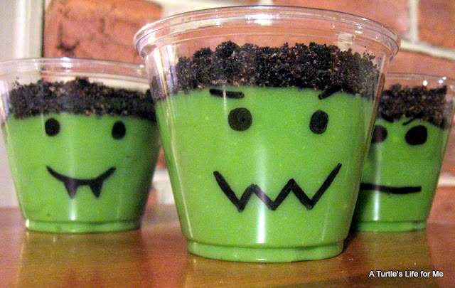 Halloween Faces Pudding Cups