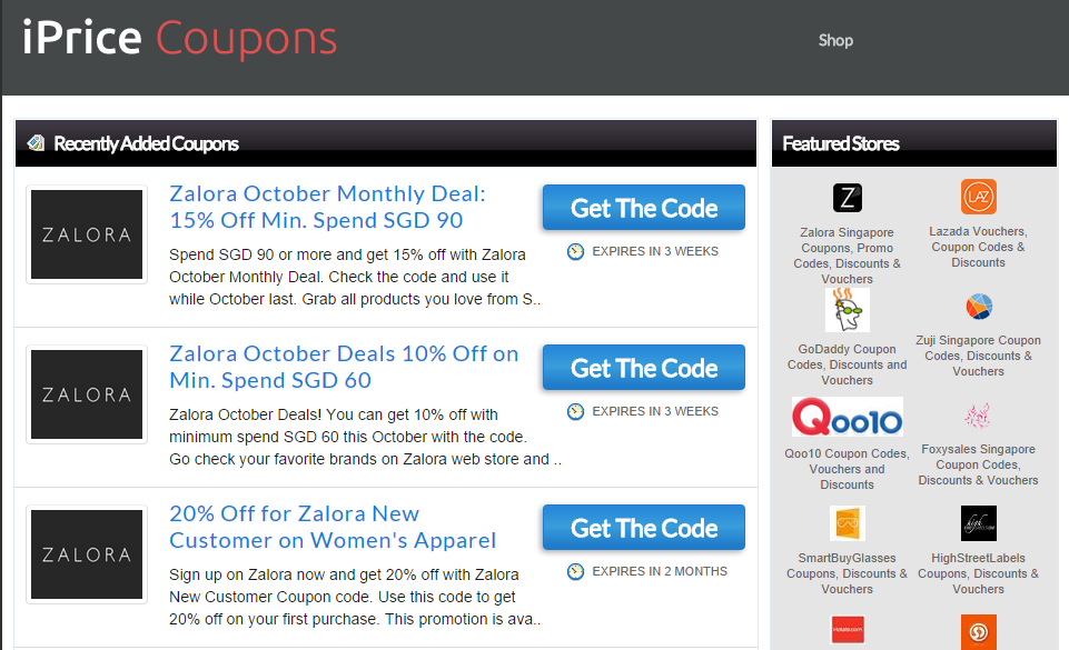 Discount coupons singapore