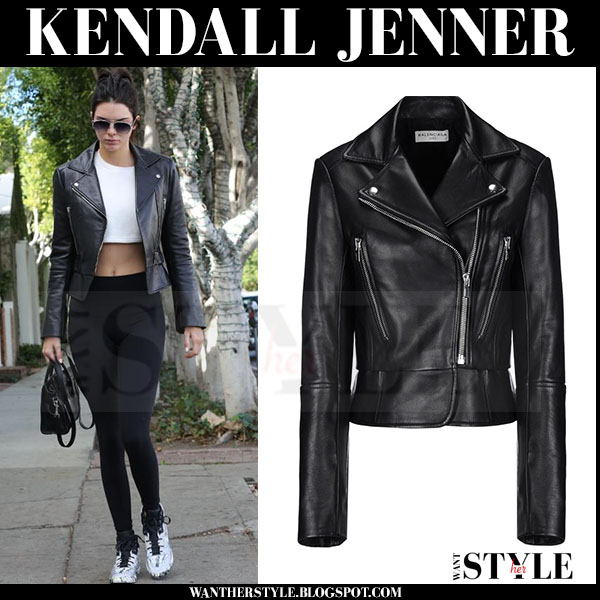 Kendall Jenner in black leather biker balenciaga jacket, black leggings and white marble balenciaga sneakers what she wore streetstyle