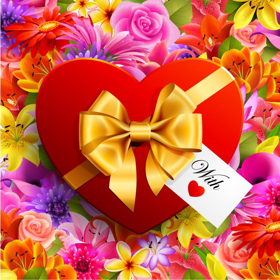 花ビラの上に金色リボンのハート valentine's day flowers background イラスト素材