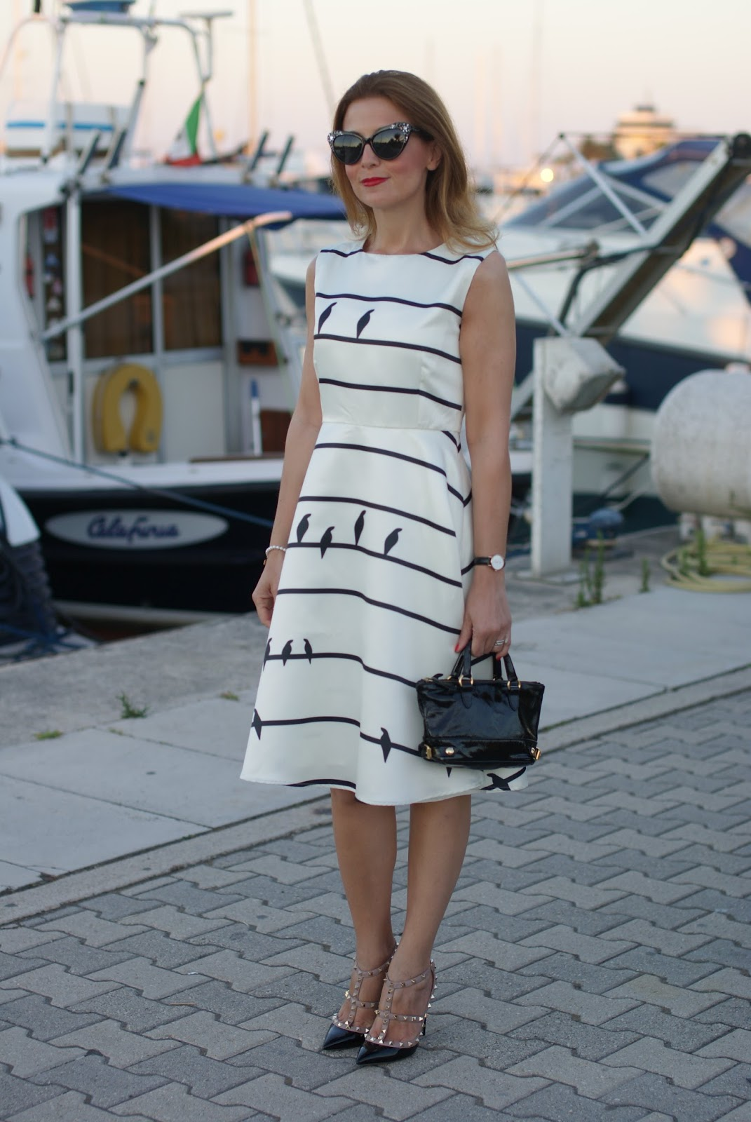 patent leather valentino rockstud pumps and birds print white dress on Fashion and Cookies