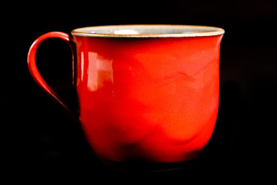 red Japanese pottery mug