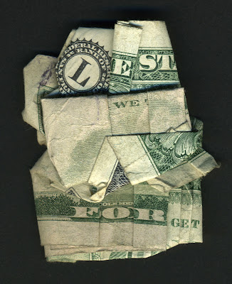 money art, folded money, lest we forget
