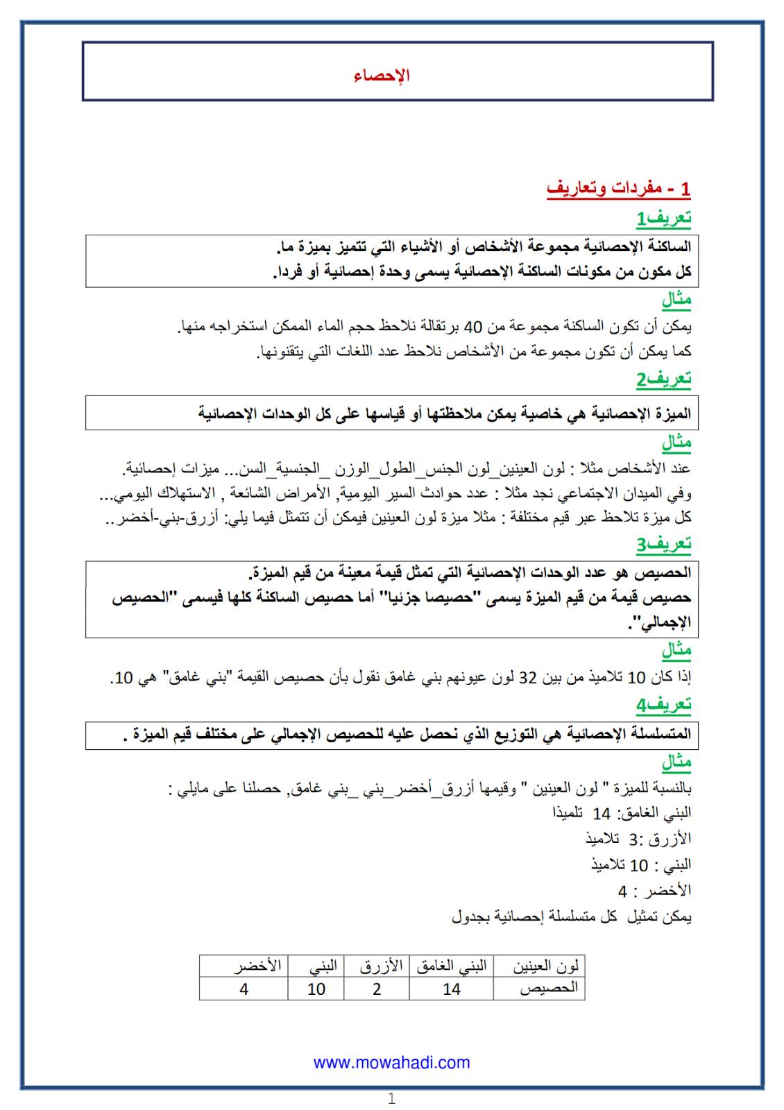 الاحصاء 1