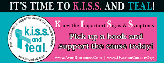 Logo for Avon Books KISS and Teal - buy romance novels to support ovarian cancer