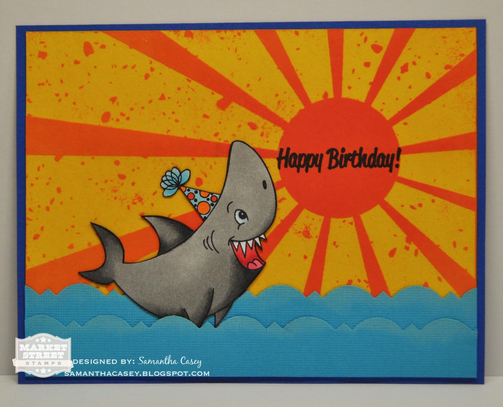 samantha casey happy birthday card using market street stamps, Birthday card