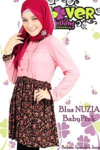 Clover Clothing Blus Nuzia - Baby Pink (Toko Jilbab dan Busana Muslimah Terbaru)