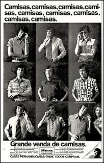 Casas Pernambucanas, camisas, moda masculina, Moda anos 70; propaganda anos 70; história da década de 70; reclames anos 70; brazil in the 70s; Oswaldo Hernandez