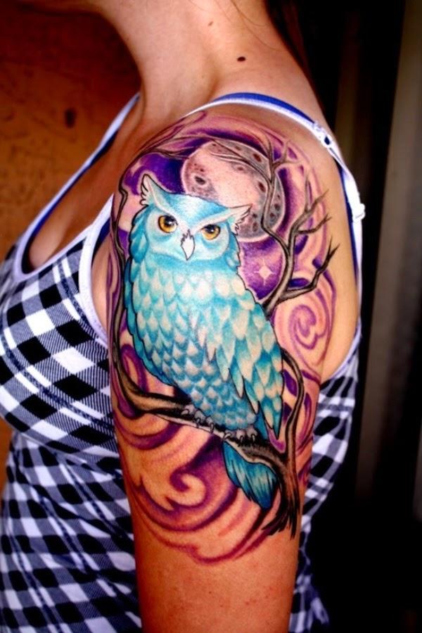 Half Sleeve Owl Tattoo for Women