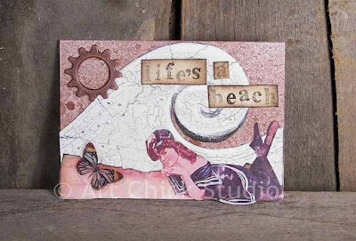 Life's a Beach Altered ART ACEO
