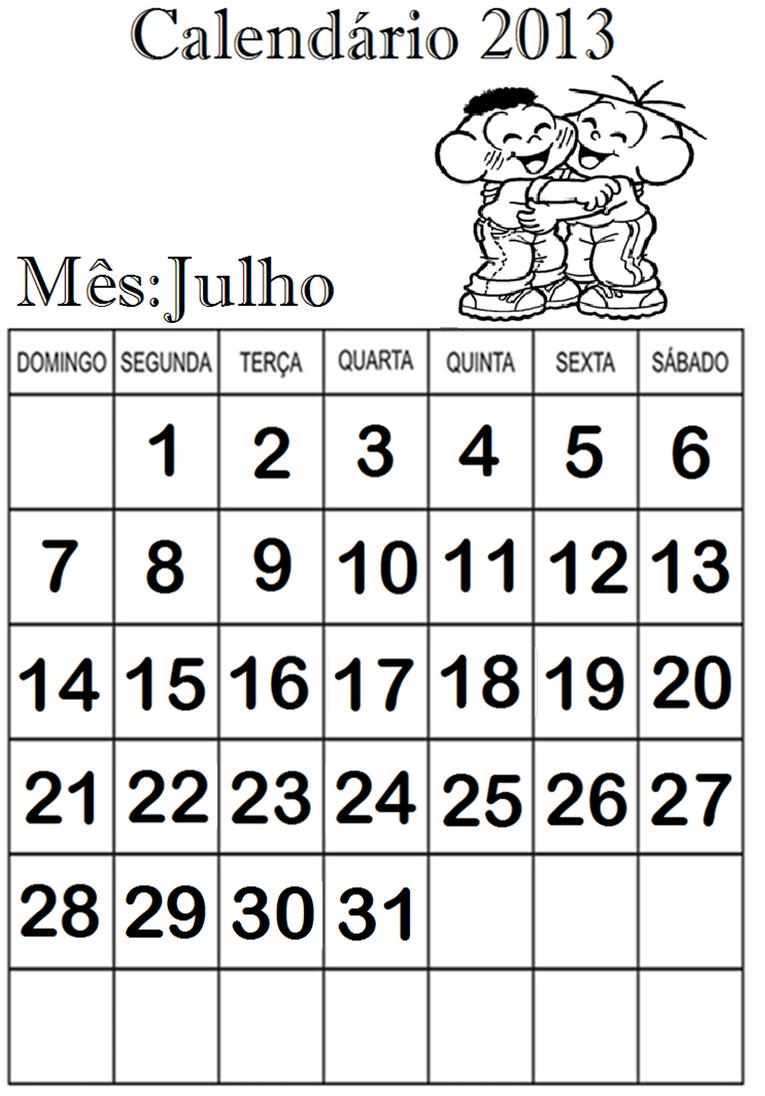 CALENDÁRIOS PARA CADERNO 2013. TURMA DA MÔNICA