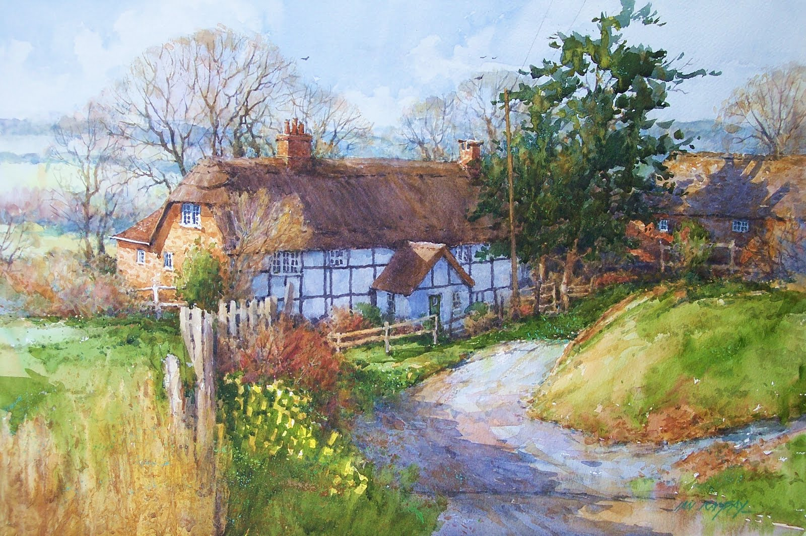 Ian ramsay watercolors it 39 s time to post some new work for Watercolor cottages