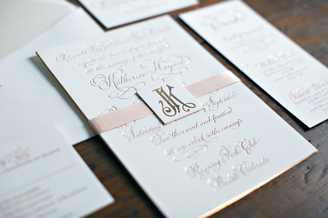 Copper Foil Wedding Invitation