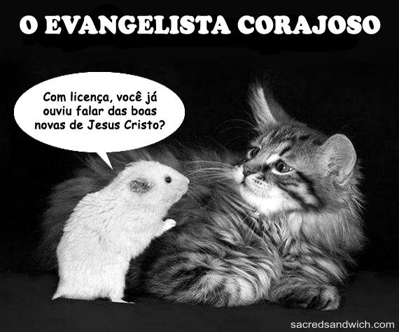 Um rato falando de Jesus para um gato