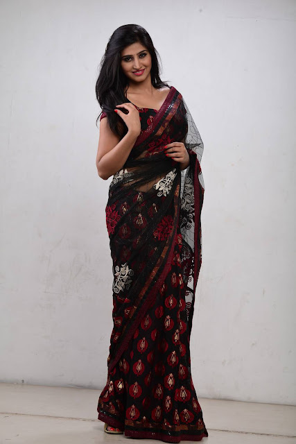 Shamili Sounderajan Gorgeous in Black Embroidery Work Saree
