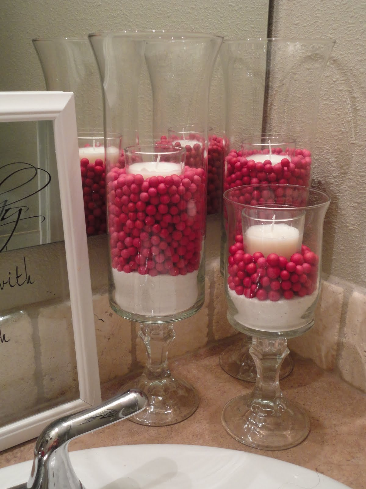 Living life and loving every second glass craft for Red glass bathroom accessories