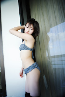 Ai Takabe Japanese Sexy Voice Actress Sexy Blue Swimsuit In Living Room 5