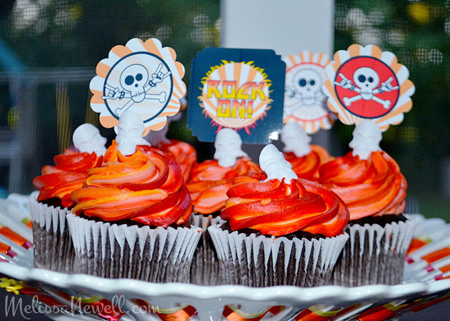 party toppers for rocker party, cupcakes, skull, rock on, orange stripes