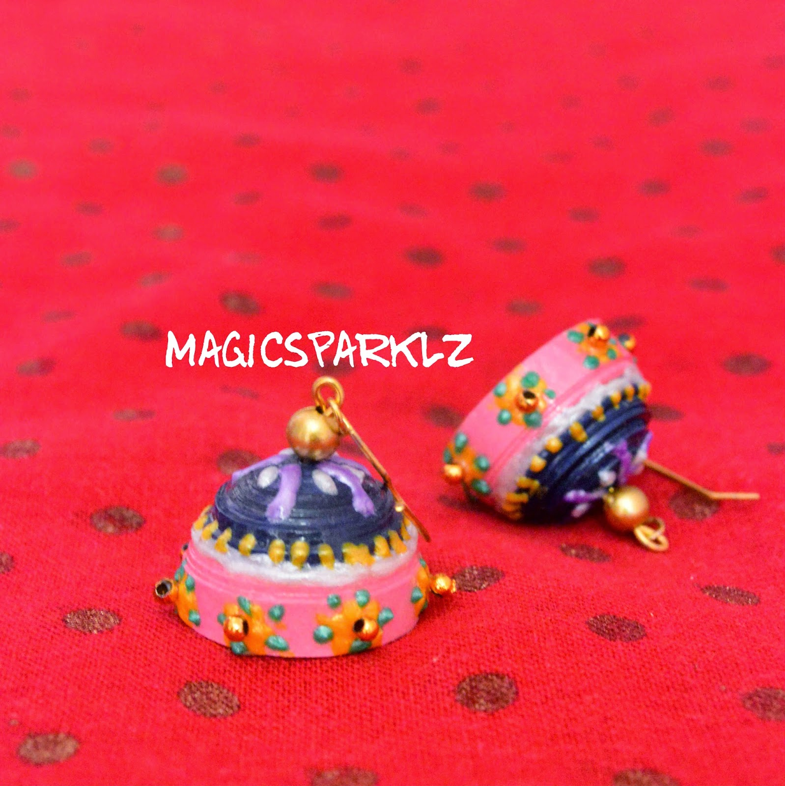 Quilled Jhumka with beads