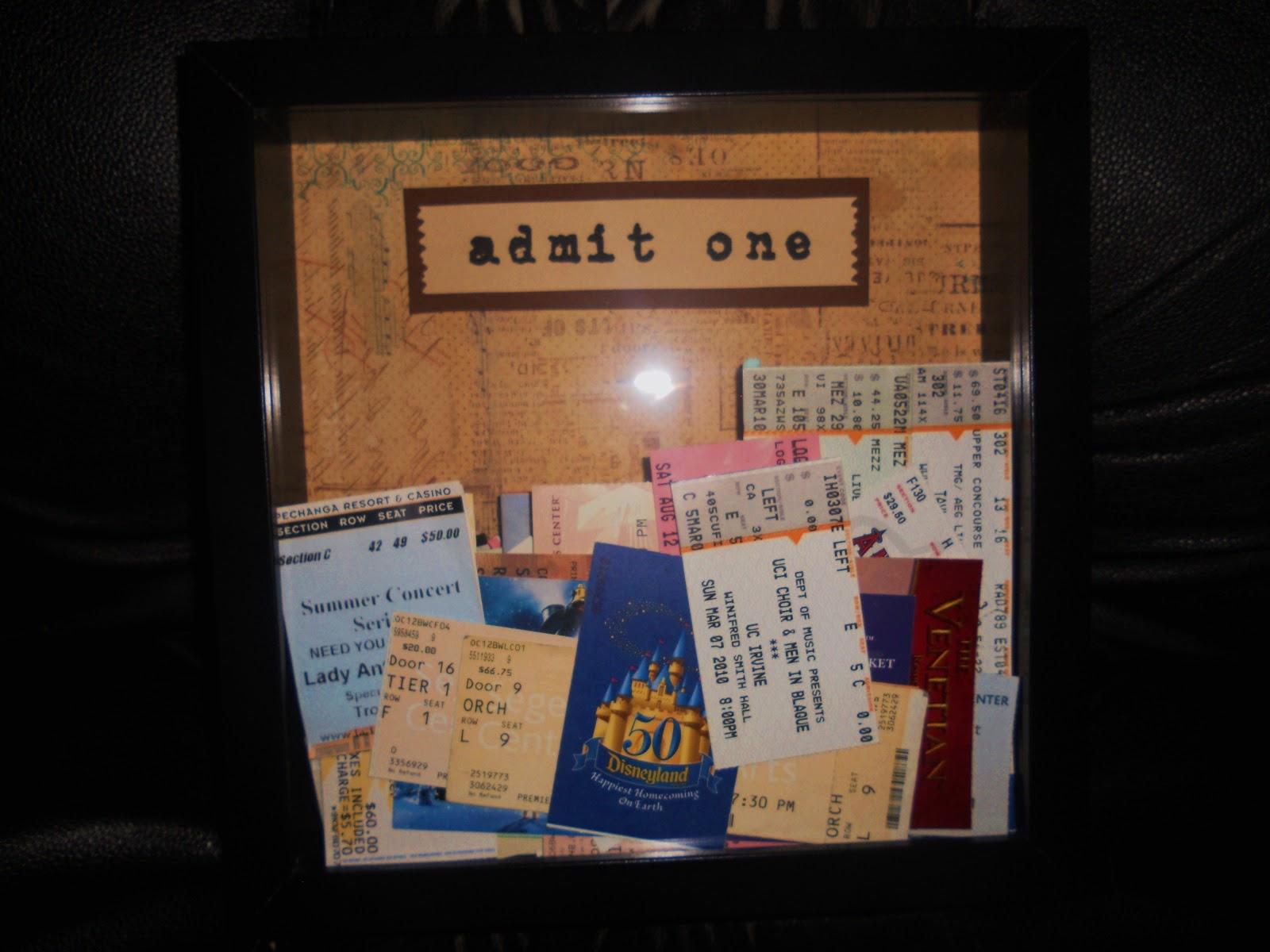 Cook, Play, Love: Ticket Stub Display