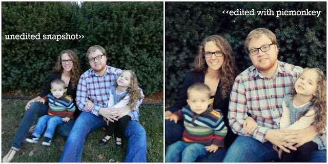 picmonkey holiday photo before and after