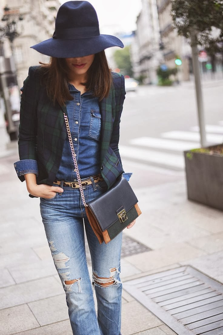 denim pant and shirt with coat and hat with purse