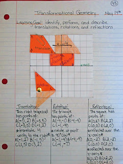 photo of transformational geometry math journal entry @ Runde's Room