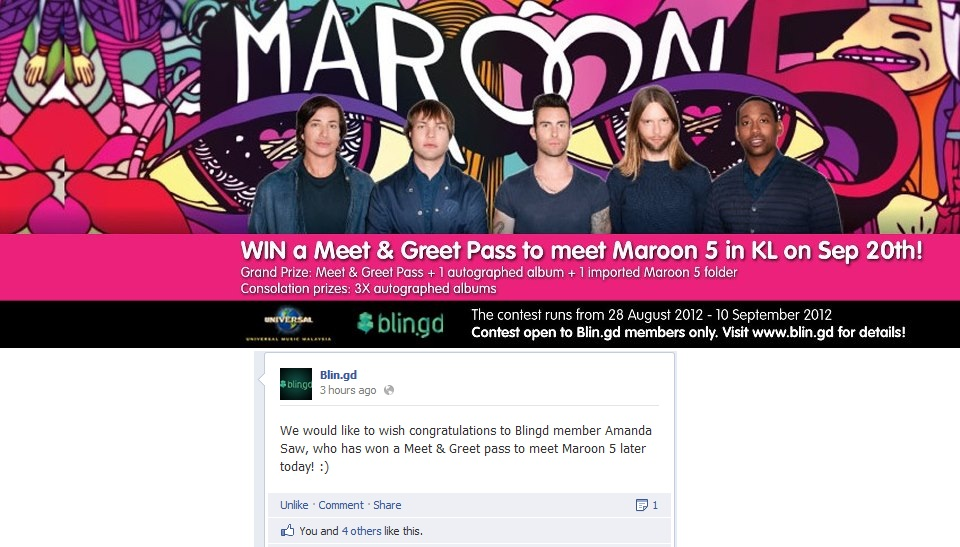Perspectiv me maroon 5 overexposed tour 2012 live in malaysia i won xd its such a great feeling when you win something im addicted lol i wasnt expecting to win but yeah vv i got a call from universal m4hsunfo