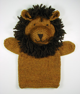 hand knit hand puppets toy animals lion