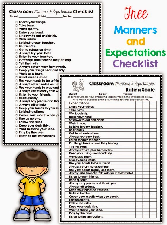 FREE Manners and Expectations Checklist and Rating Scale Clever Classroom
