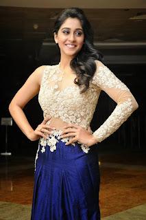 Actress Regina Candra Picture Gallery in Designer Long Dress at Pilla Nuvvu Leni Jeevitham Movie Success Meet  5.jpg