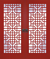 Red Lattice Fretwork French Doors