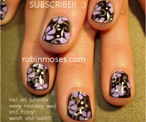Simple Flowers Black And Lavender Nail Lavender Flower Nail