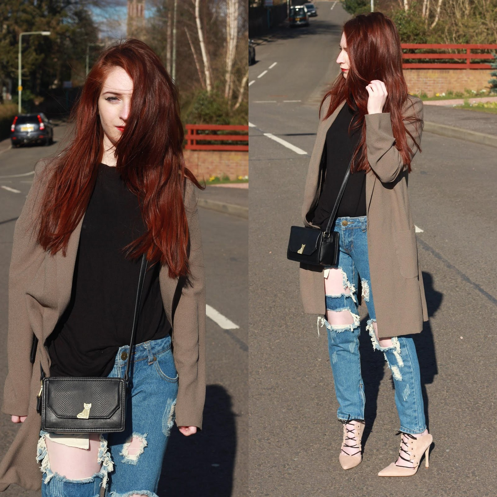 mesh top, extreme ripped jeans, style blog, topshop ghillie heels, suede heels, khaki,