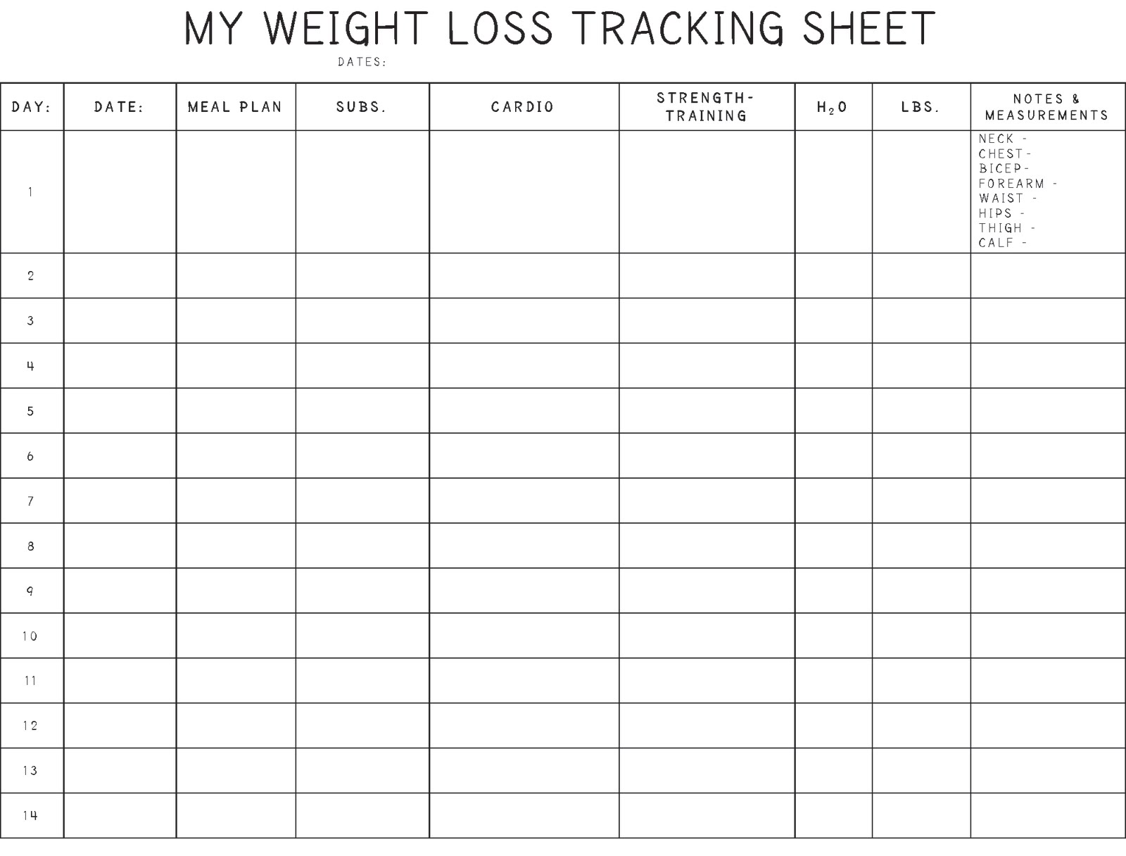 free weight loss sheet