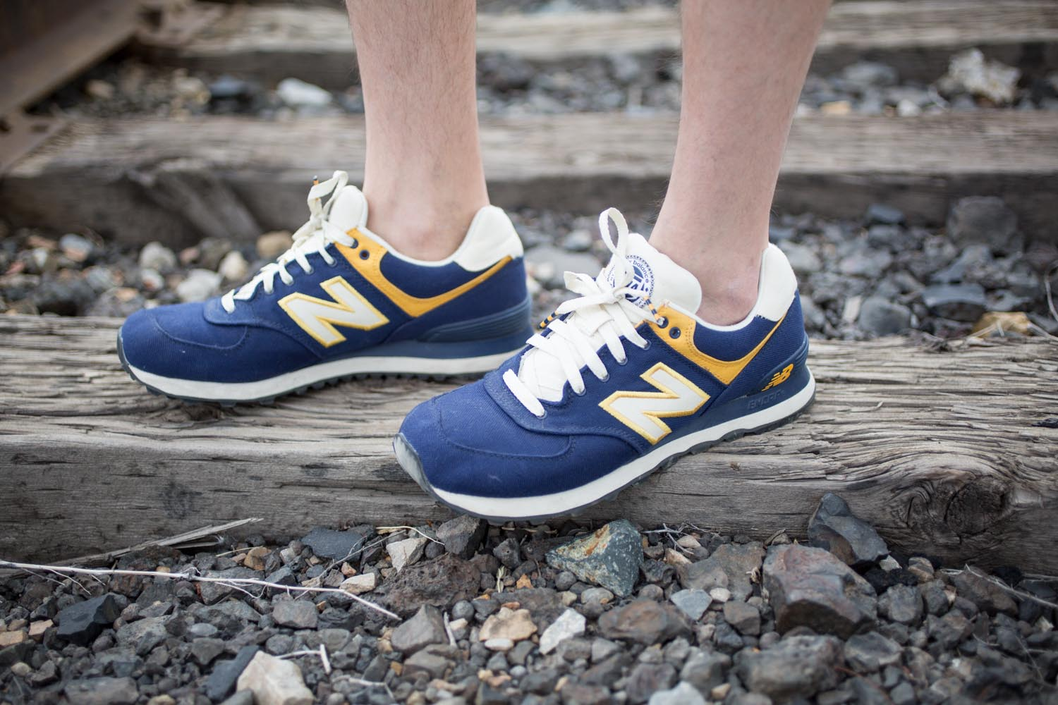Navy and Yellow New Balance Sneakers