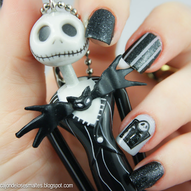 uñas decoradas Halloween el extraño mundo jack -  Halloween Nightmare before christmas nail art
