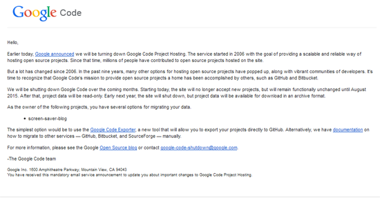 Google Code Tutup, Sila Periksa Kod HTML Widget Blog