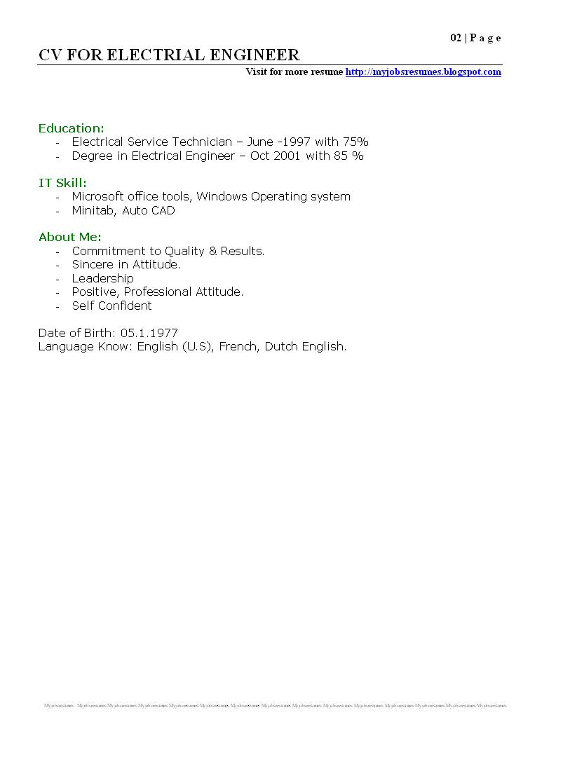 fresh jobs and resume samples for jobs cv for electrical cv for electrical engineer pg 02