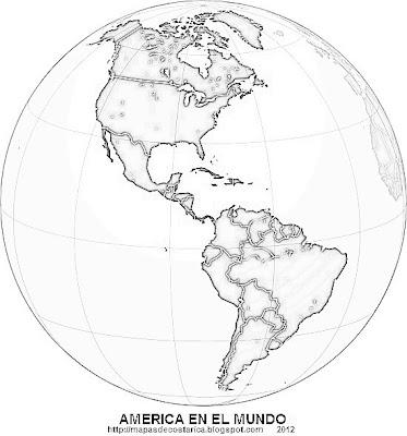AMERICA, vista de America en el mundo, blanco y negro