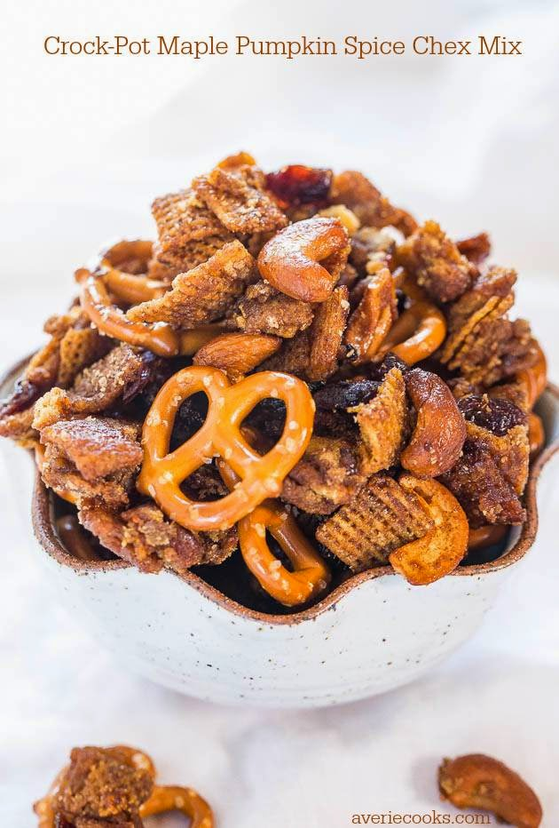 Slow Cooker Chex Mix Recipe from Averie Cooks found on SlowCookerFromScratch.com