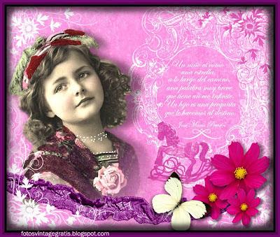 papel digital para scrapbooking con niña, flores y mariposa