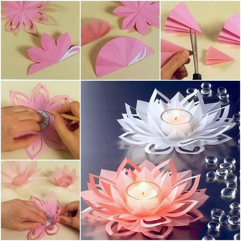 Ideas products diy how to make paper flower candle for Diy paper lotus candlestick