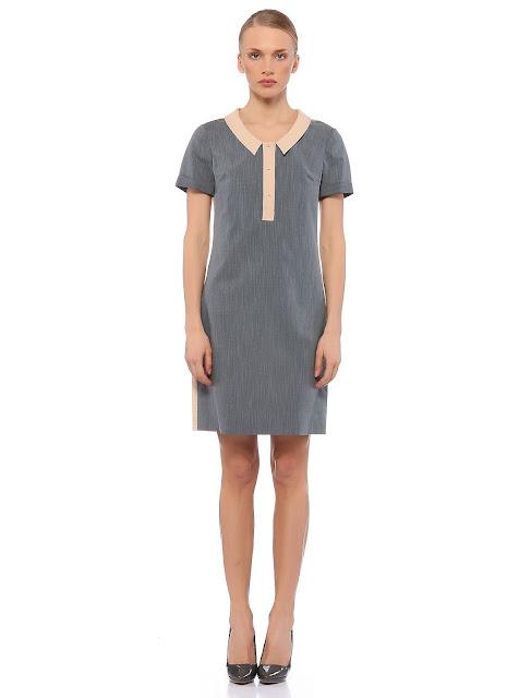 yakalı kısa gri elbise