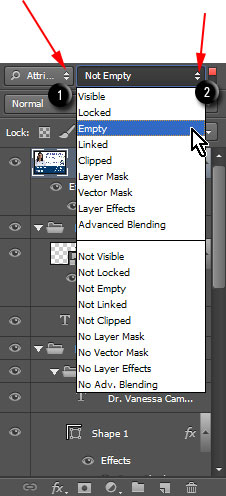 Display all empty layers in Layers palette