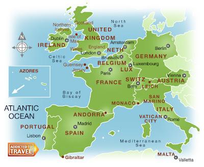 Carte de Europe de l'Ouest Carte
